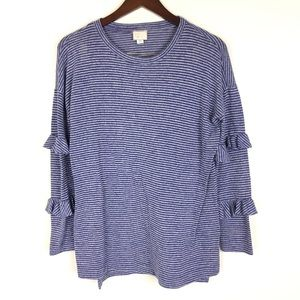 Anthropologie Postmark Small Blue Striped Sweater